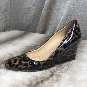 J. Crew Cheetah Patent Leather Wedges in Size 8